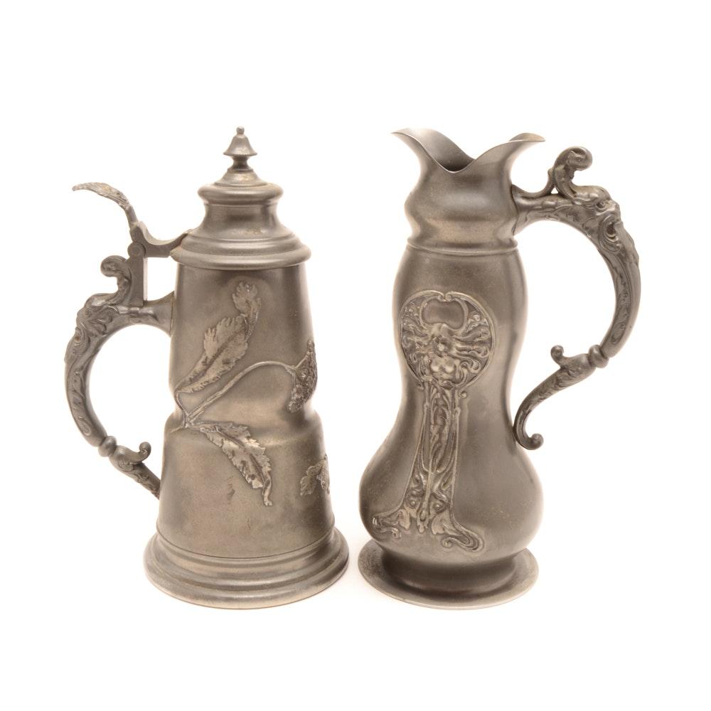German Art Nouveau Pewter Ewer and Tankard