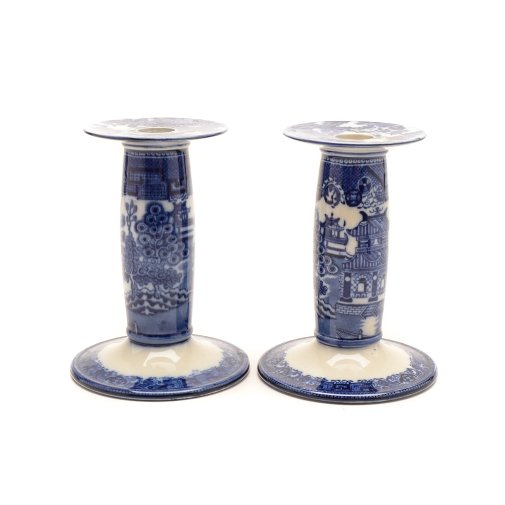 "Antique Royal Doulton ""Willow"" Porcelain Candlesticks"