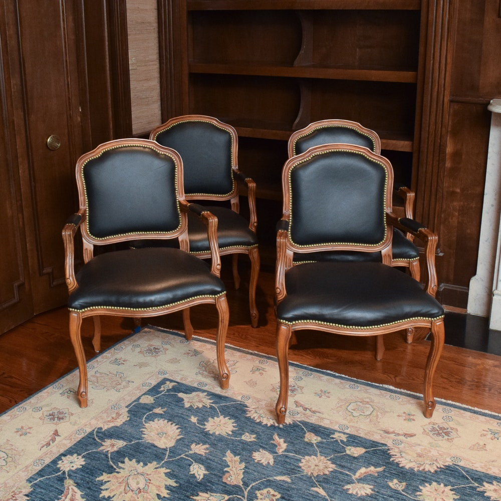 Black Leather and Walnut Armchairs