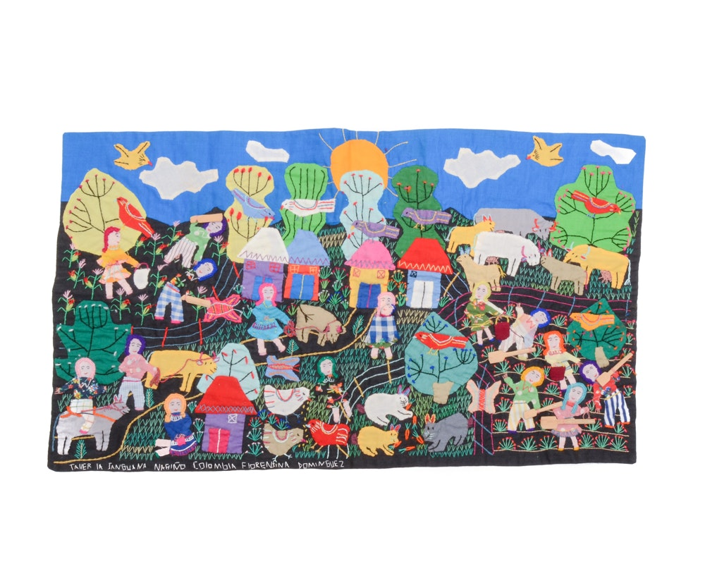 Signed Colombian Folk Art Embroidered Tapestry