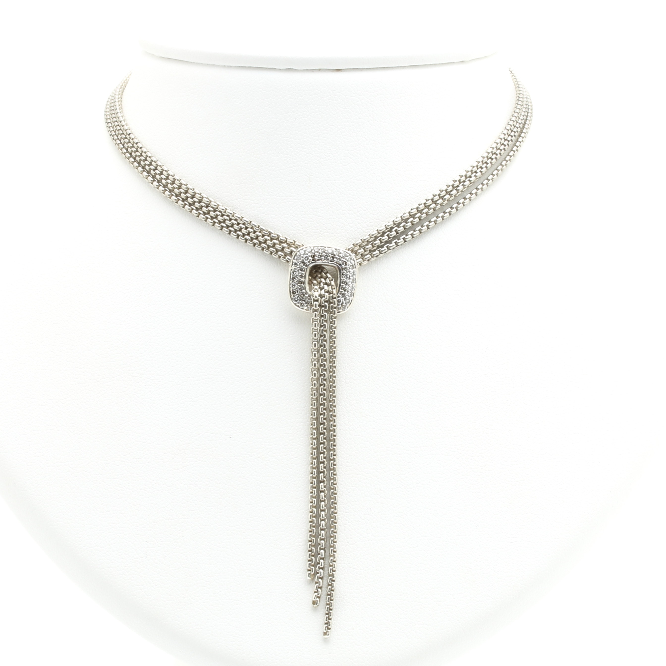David Yurman Sterling Silver and Diamond Lariat Necklace