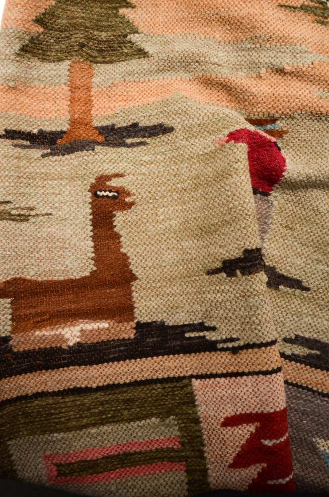 Flat Weave Wool Peruvian Style Pictorial Rug