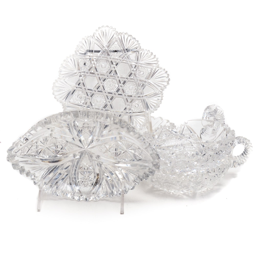 American Brilliant Cut Glass Serving Dishes