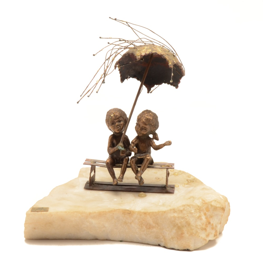 Bijan Sculpture of Two Kids on Bench with Umbrella