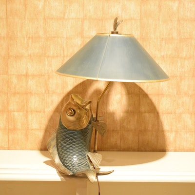Vintage floor lamps retro table lamps antique lighting in home brass fish table lamp aloadofball Image collections