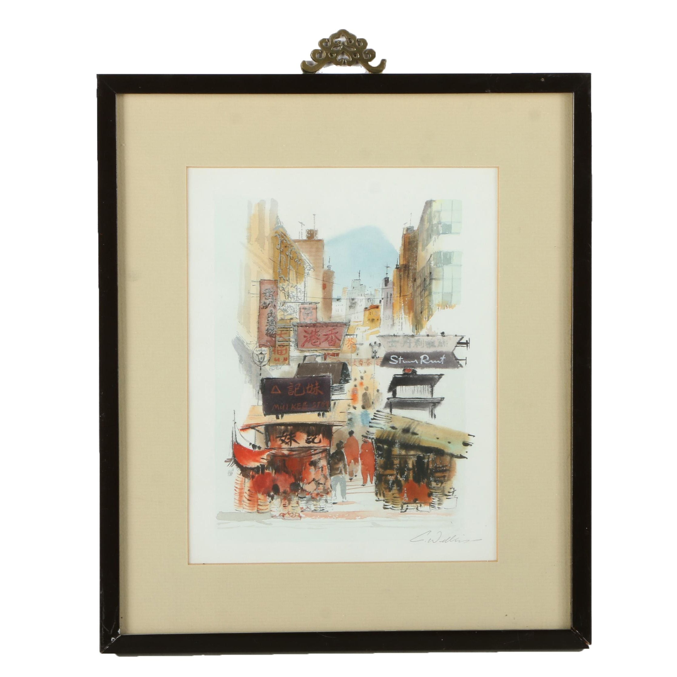 Chinese Style Watercolor Painting on Paper of Market Scene