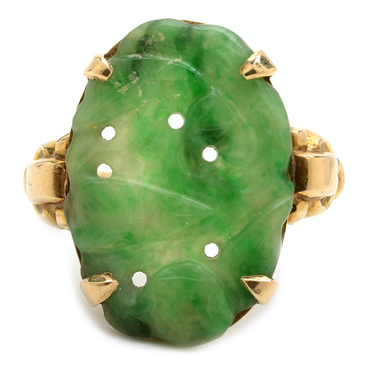 10K Yellow Gold Carved Jadeite Ring