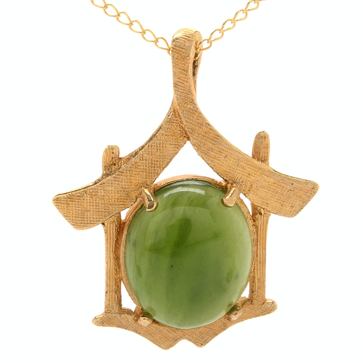 14K Yellow Gold Nephrite Pendant Necklace
