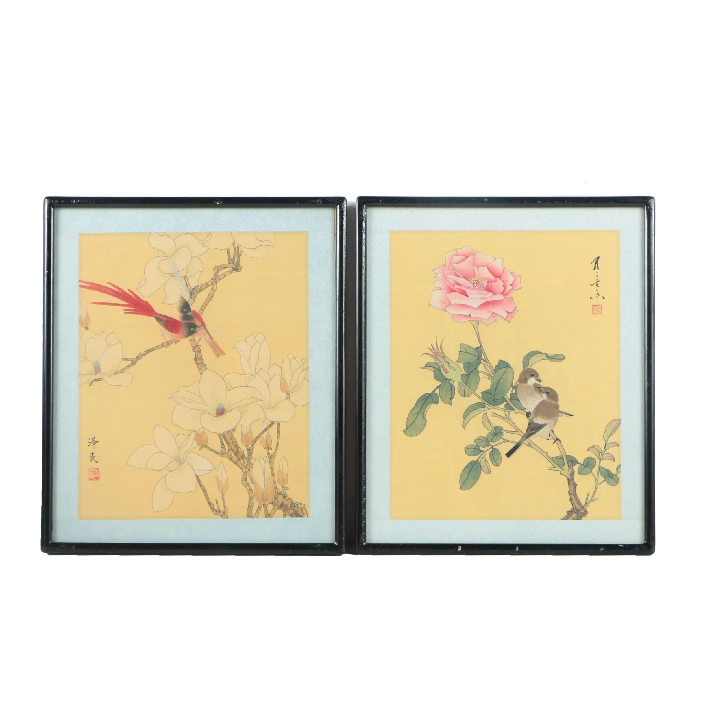 Two East Asian Watercolor Paintings on Silk of Birds in Flowering Bushes