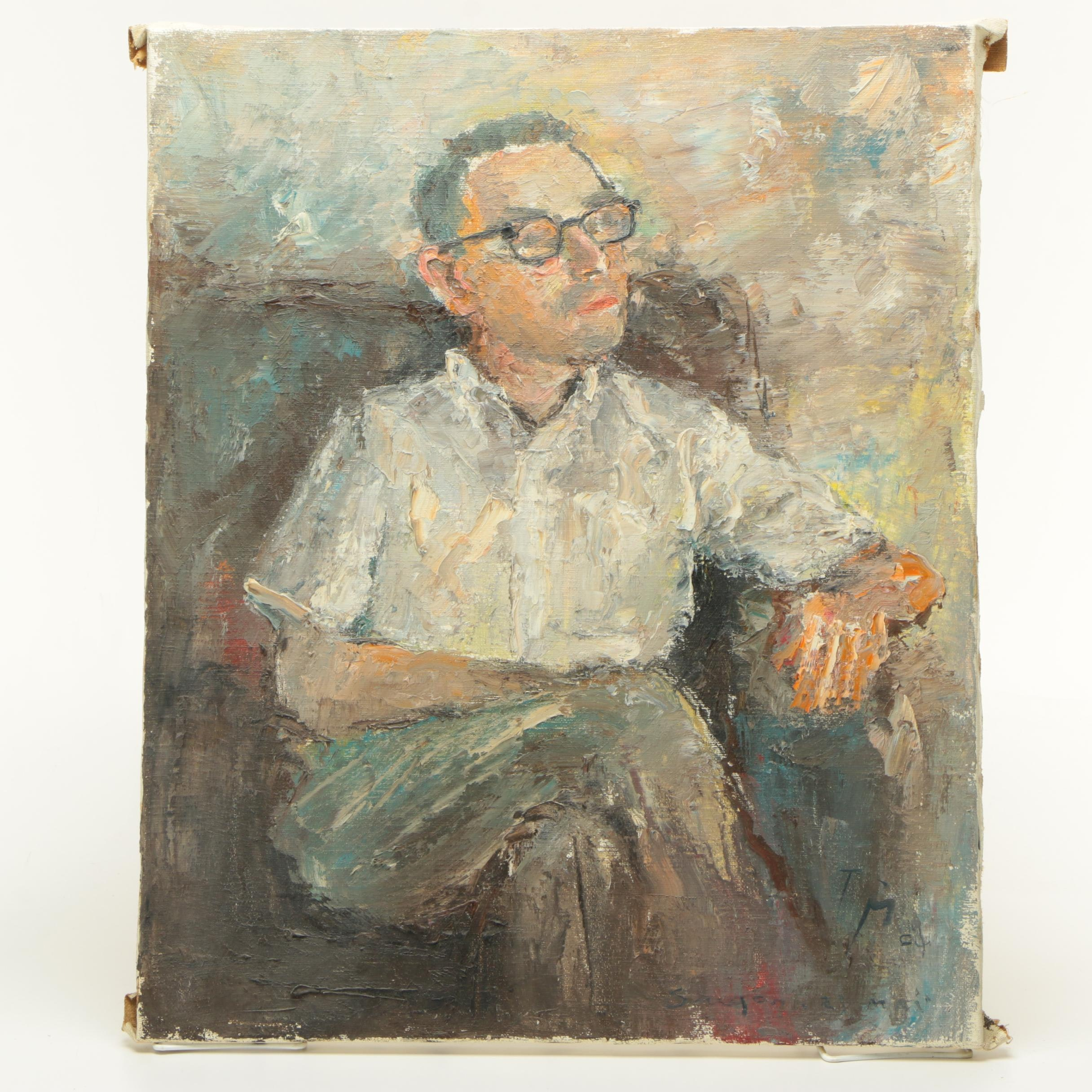 1964 TS Oil Painting of a Man in Glasses