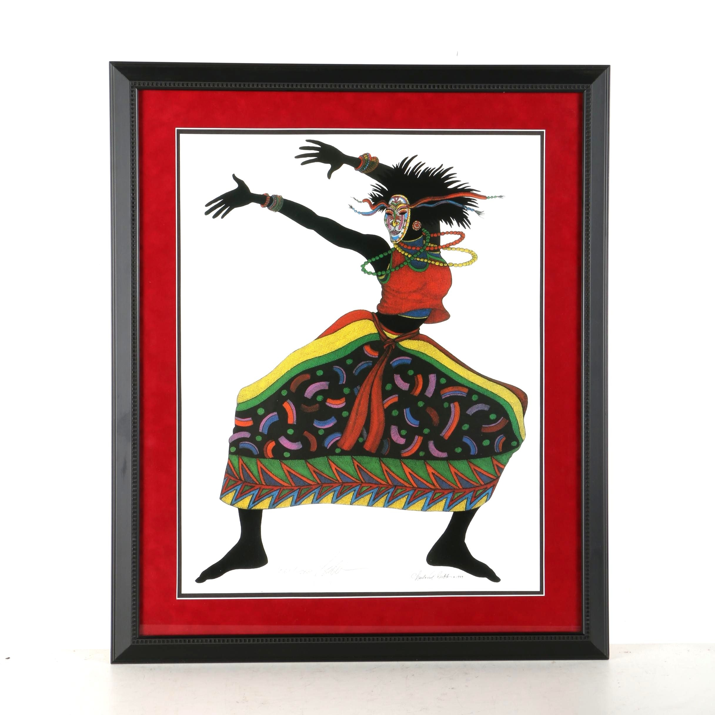 Charles Bibbs Limited Edition Offset Lithograph of Dancing Woman