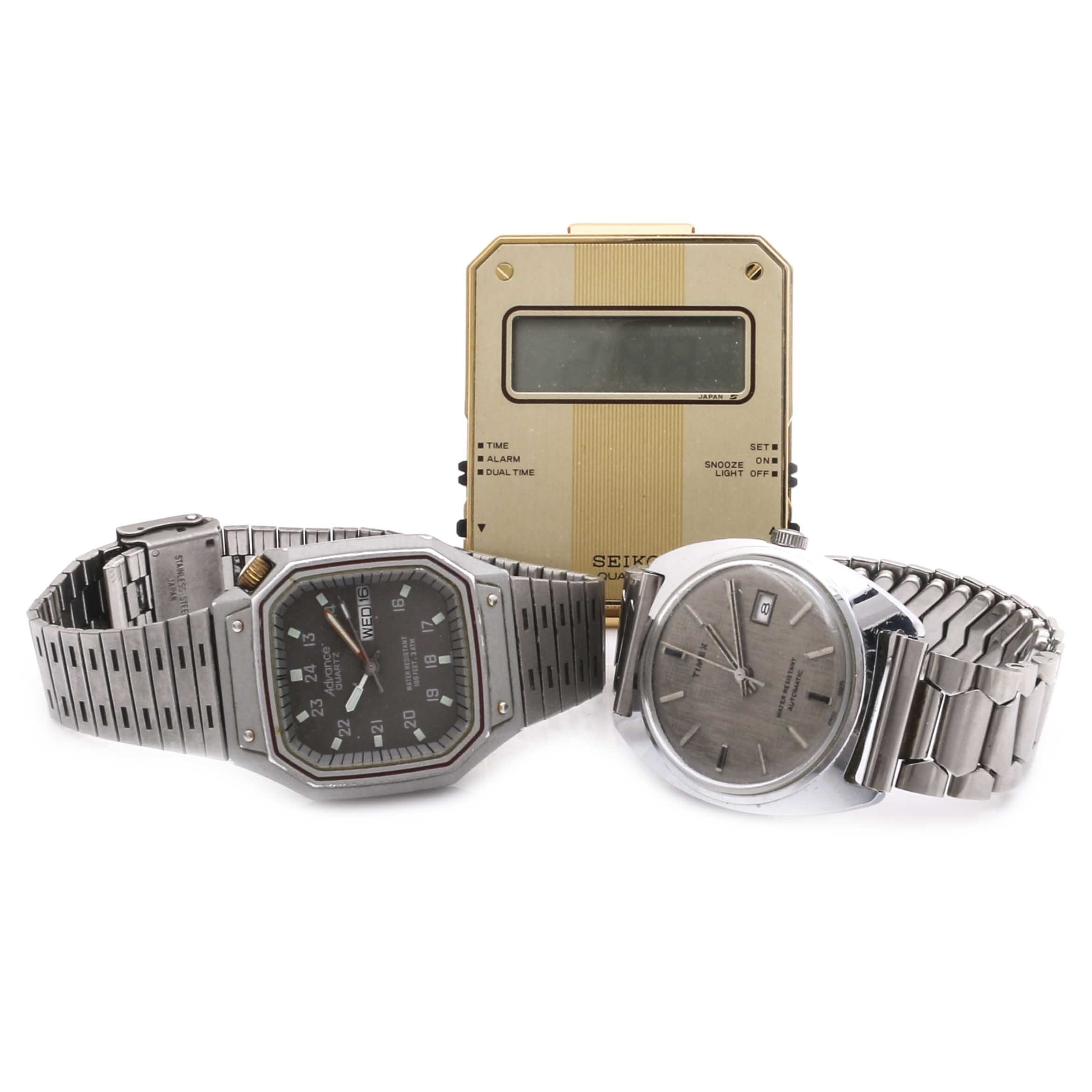 Three Timepieces by Seiko, Timex and Advance