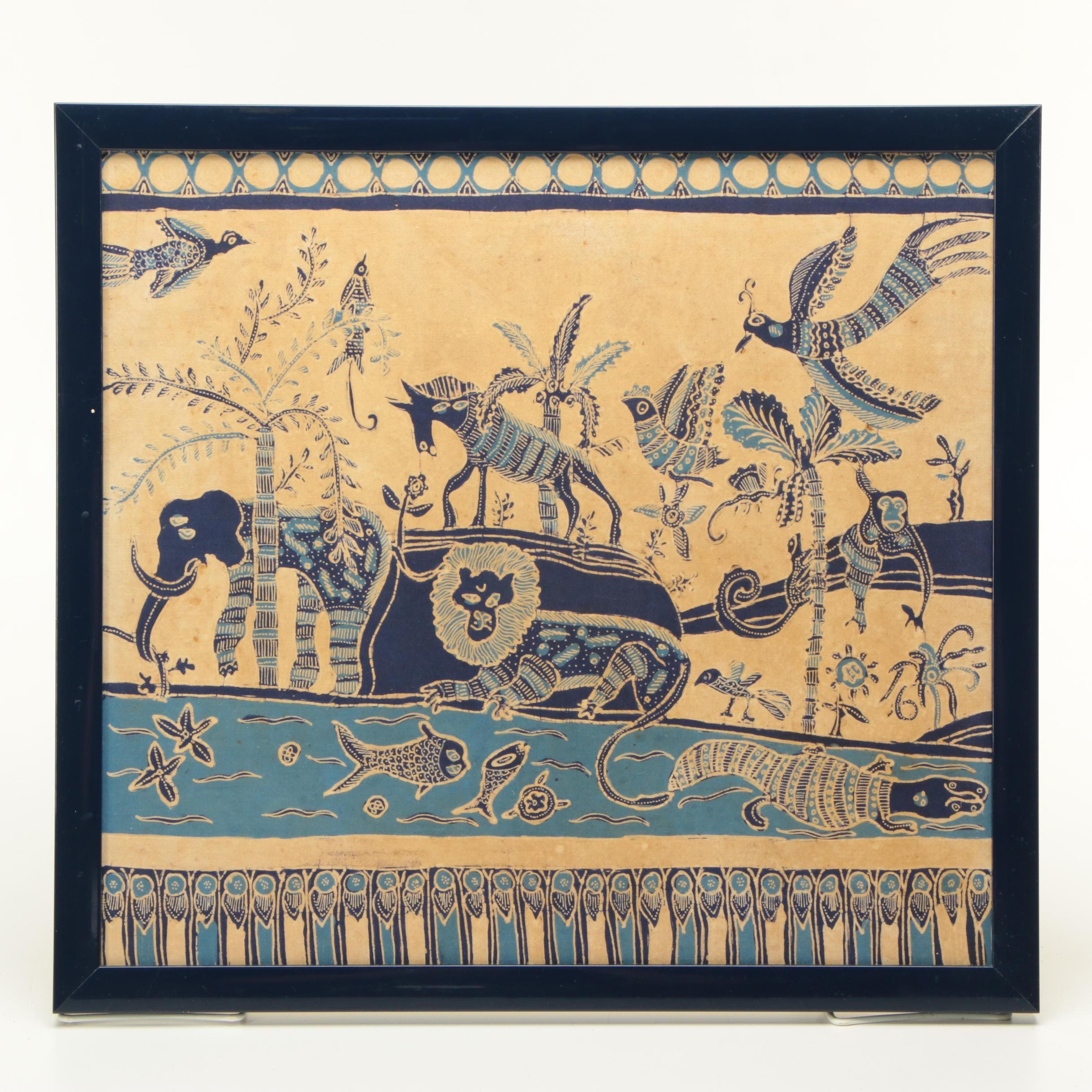 Batik Textile Print of Animals at a Watering Hole