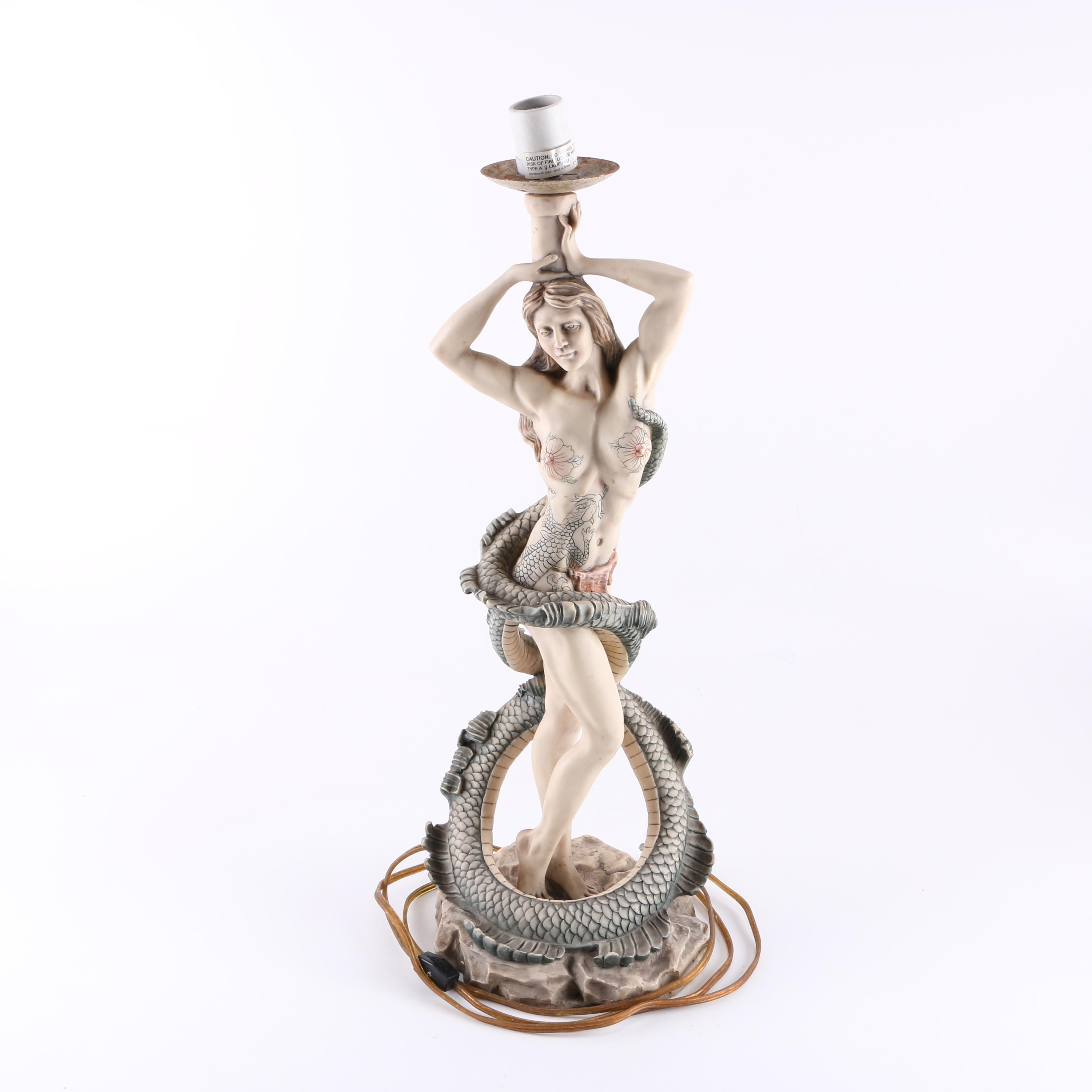 Figural Accent Lamp of Woman Entwined with a Sea Serpent