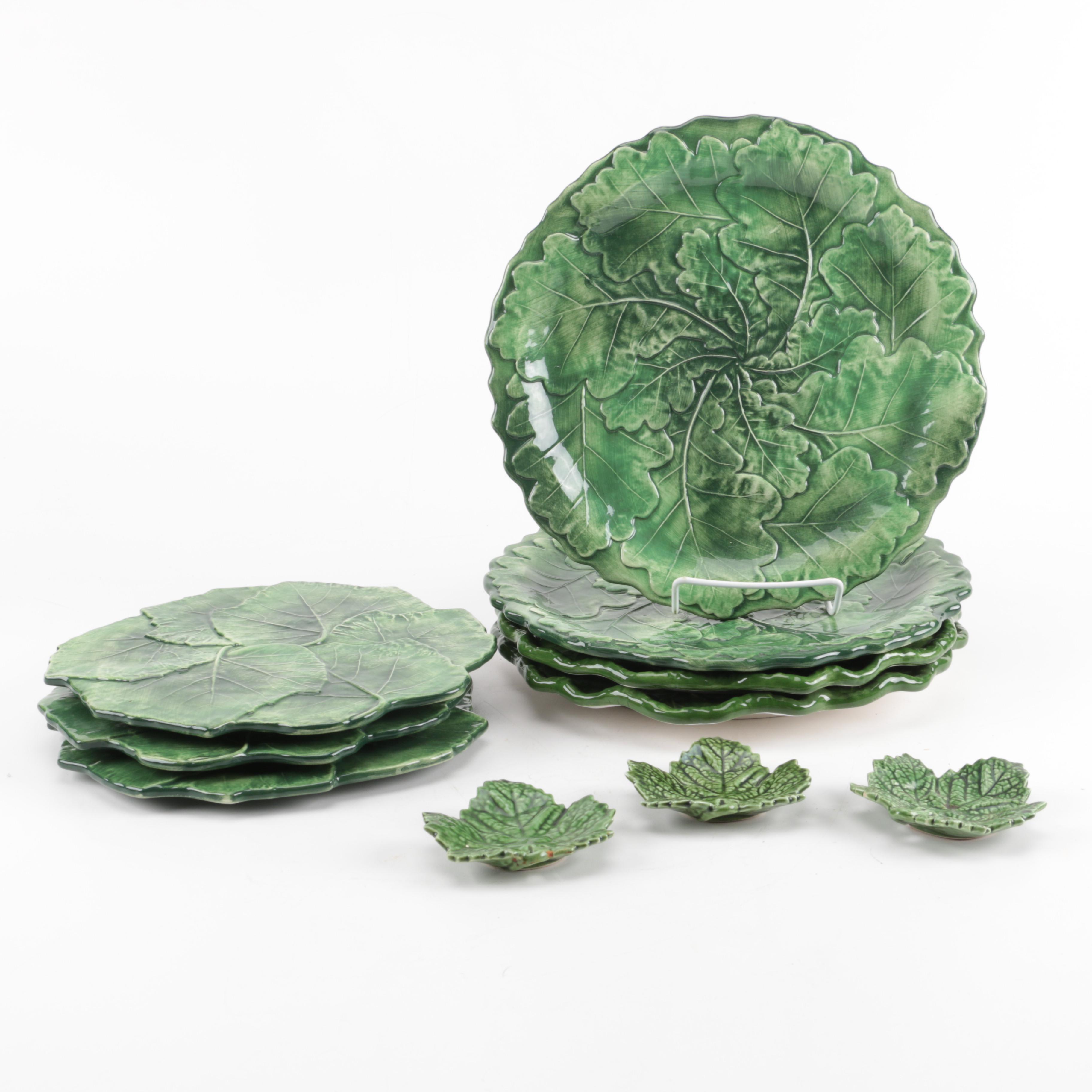 Italian and Portuguese Majolica Leaf Plates Including Vietri