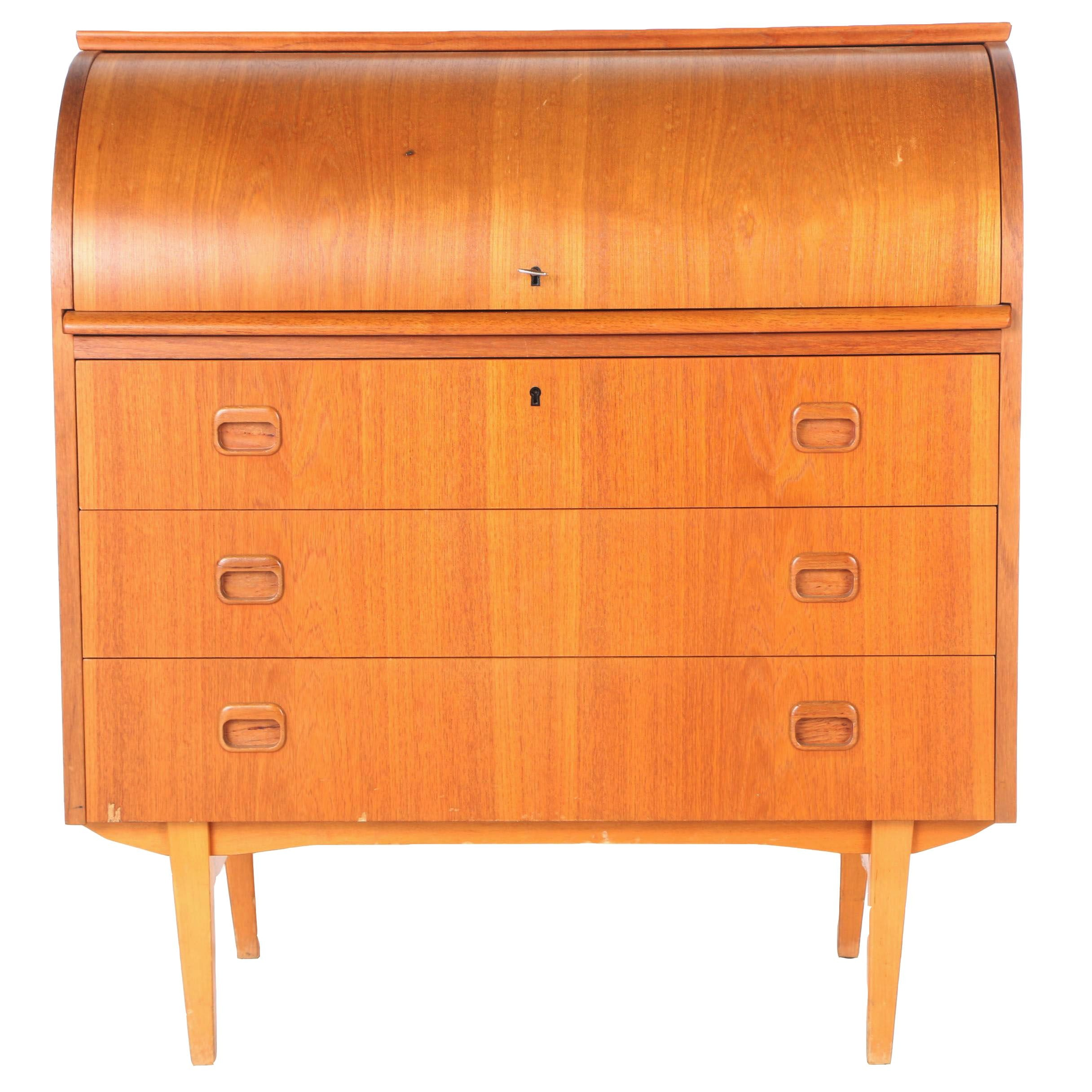 Danish Modern Roll Top Desk by Egon Ostergaard