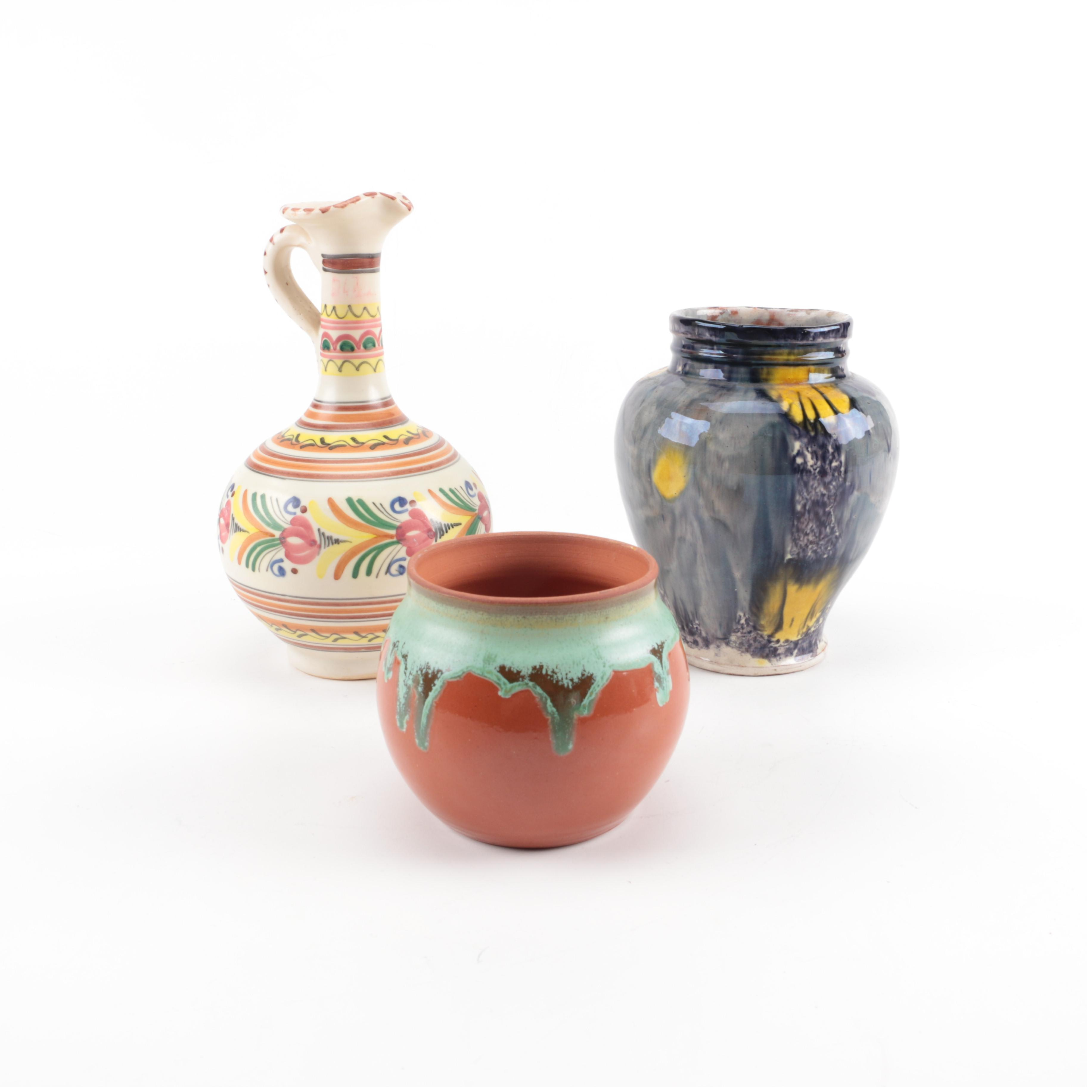 Hand Thrown Stoneware Vases and Pitcher