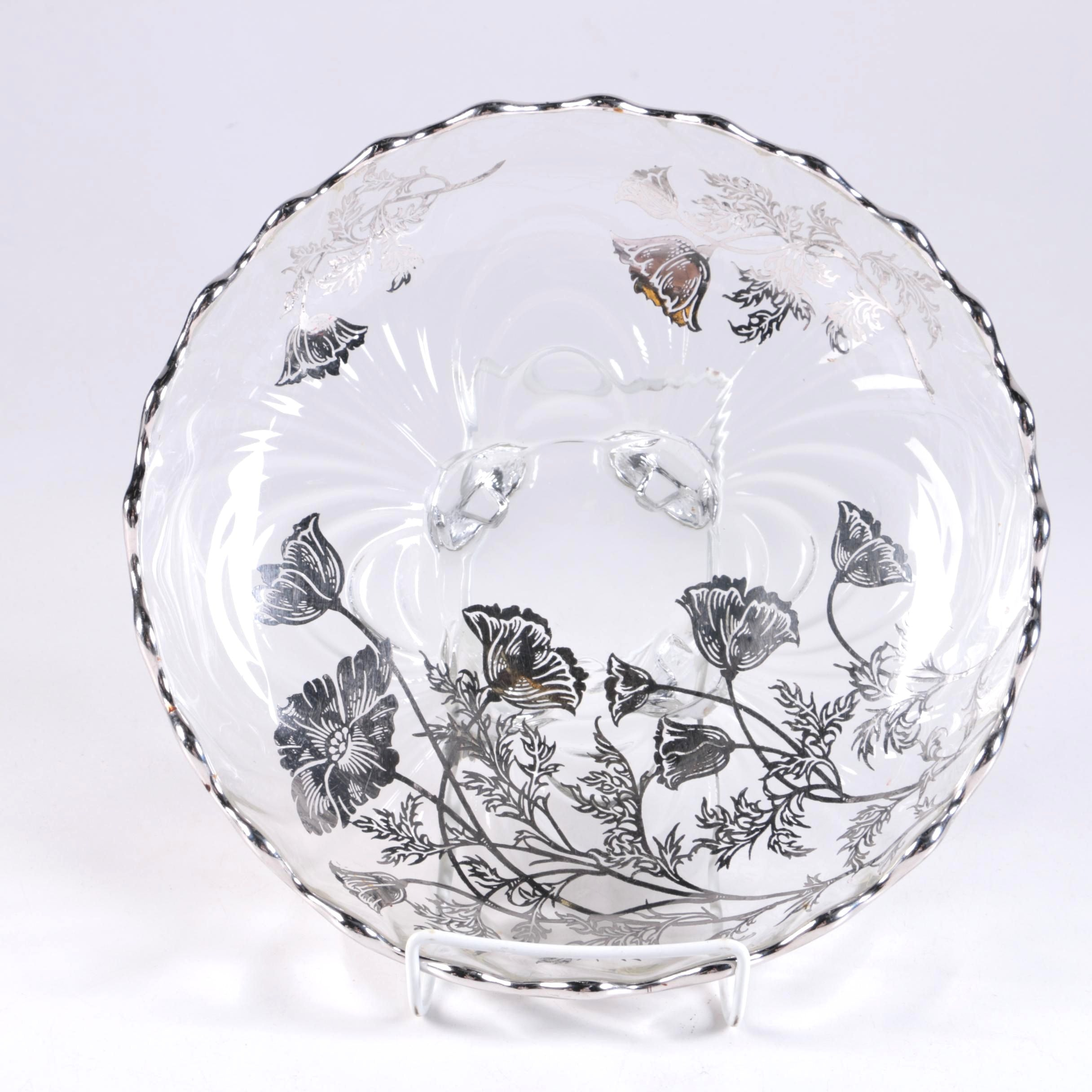 Glass Bowl With Silver Toned Floral Overlay