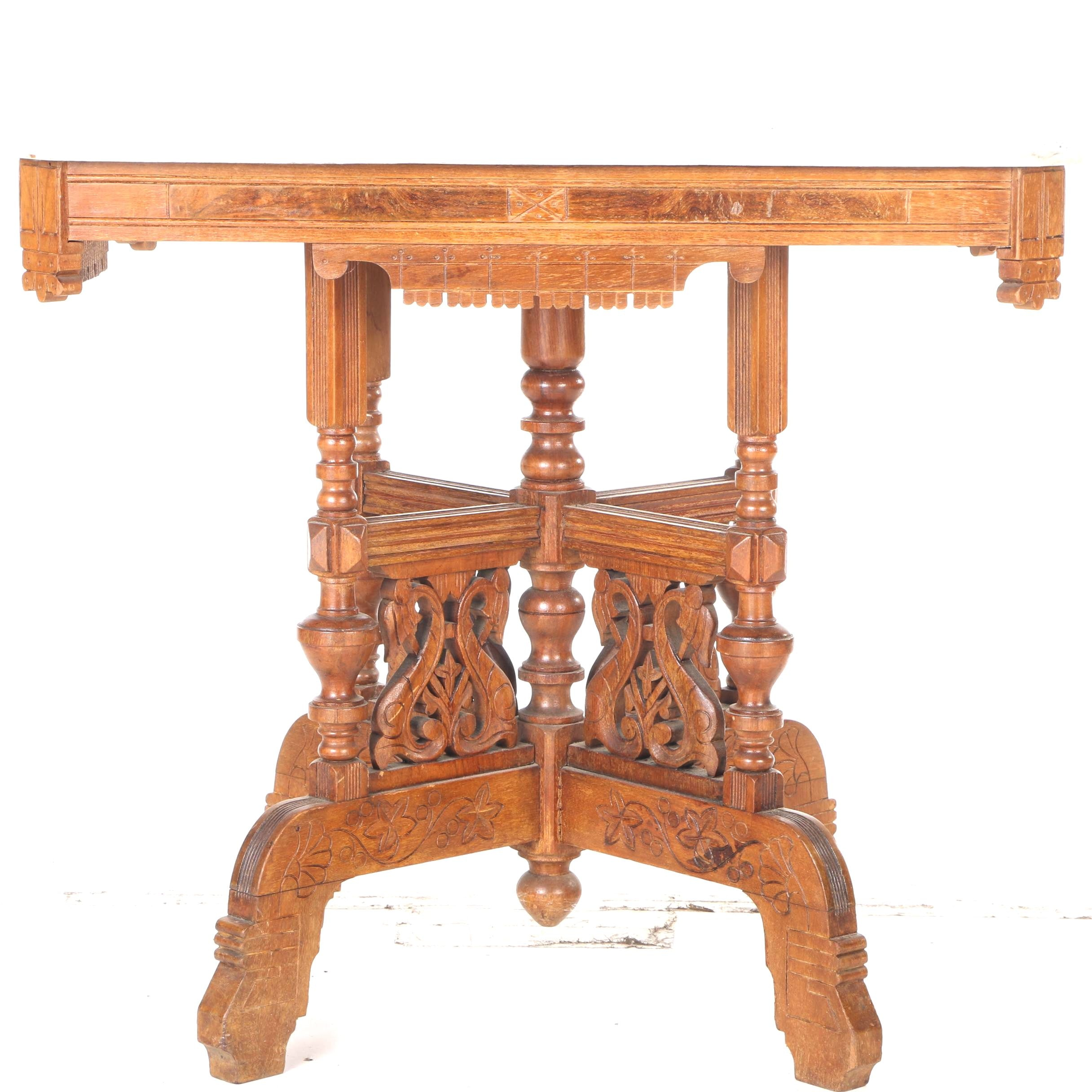 American Eastlake Table with Marble Top