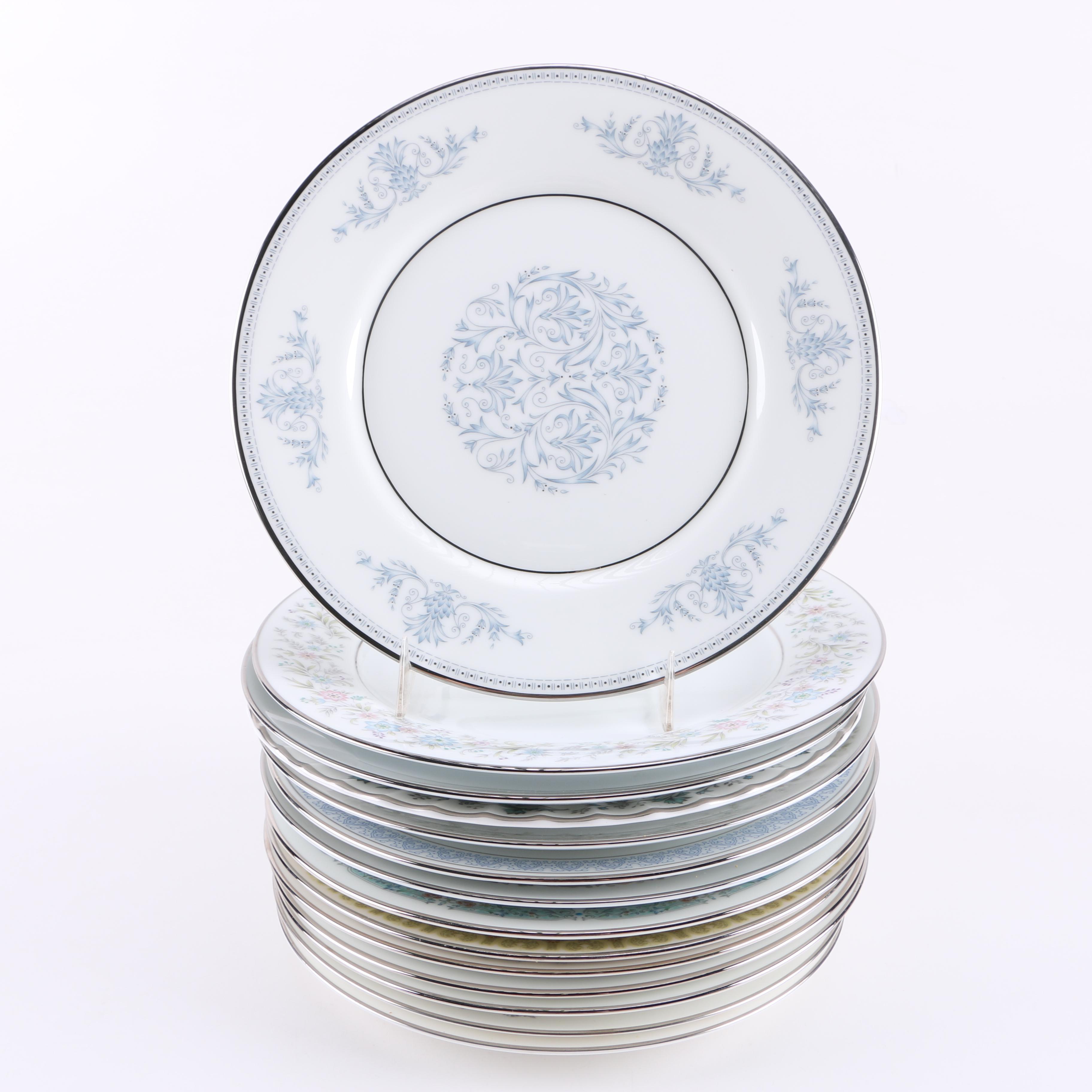 Assorted Silver-Tone Rim China Plates