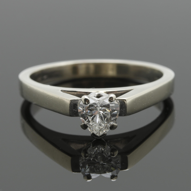 14K White Gold Diamond Cathedral Ring
