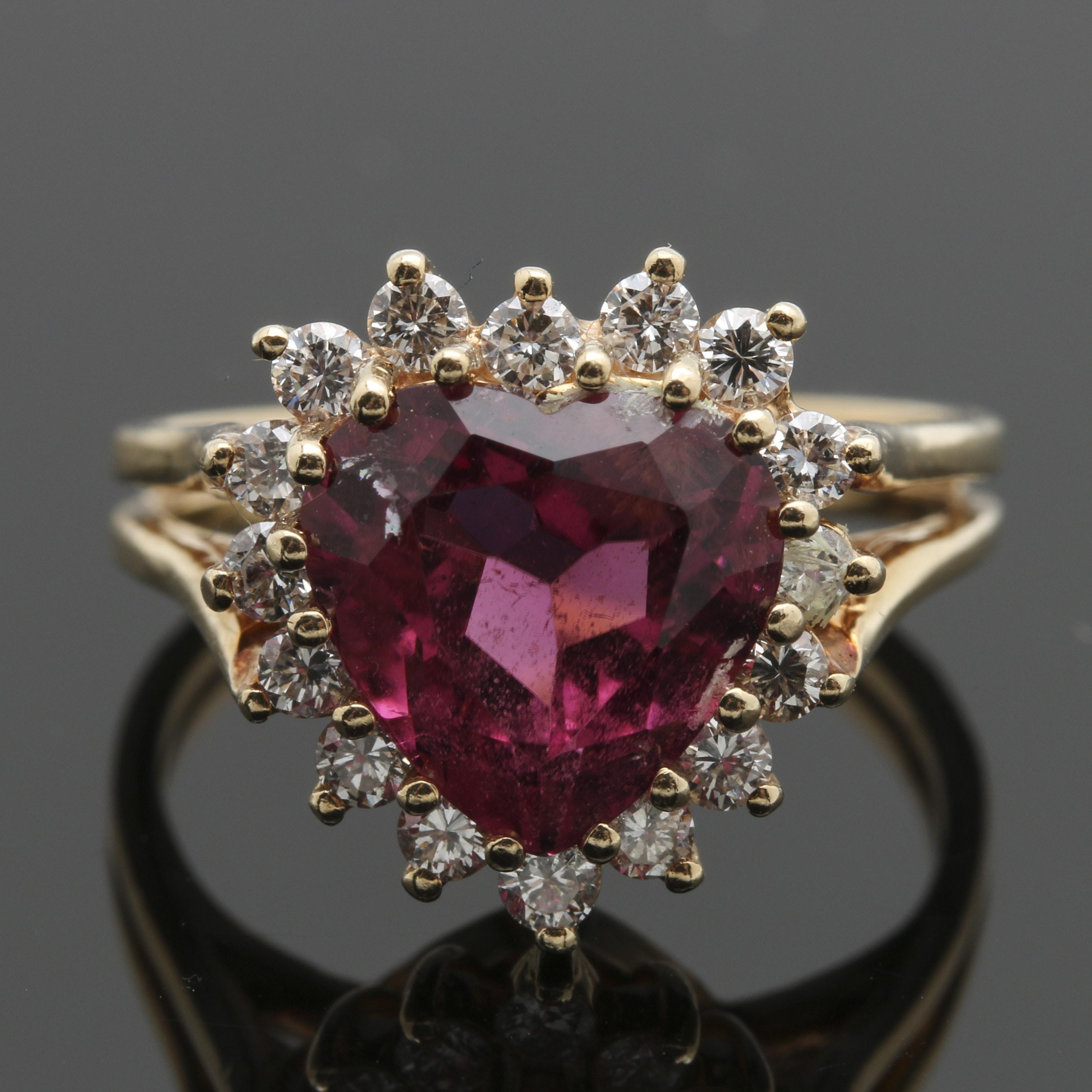 14K Yellow Gold 2.54 CT Pink Tourmaline and Diamond Heart Shape Ring