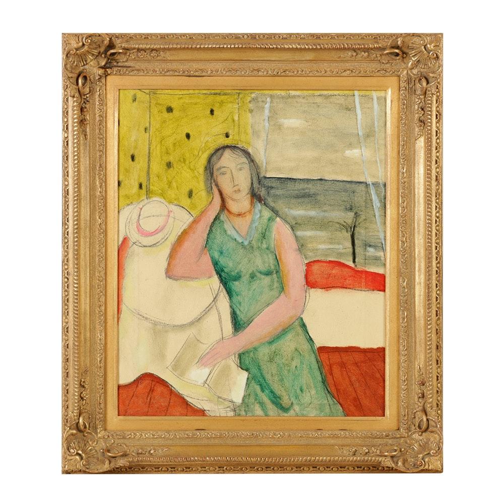 "Edgar Yaegar Oil Painting on Canvas ""Girl Reading Book"""