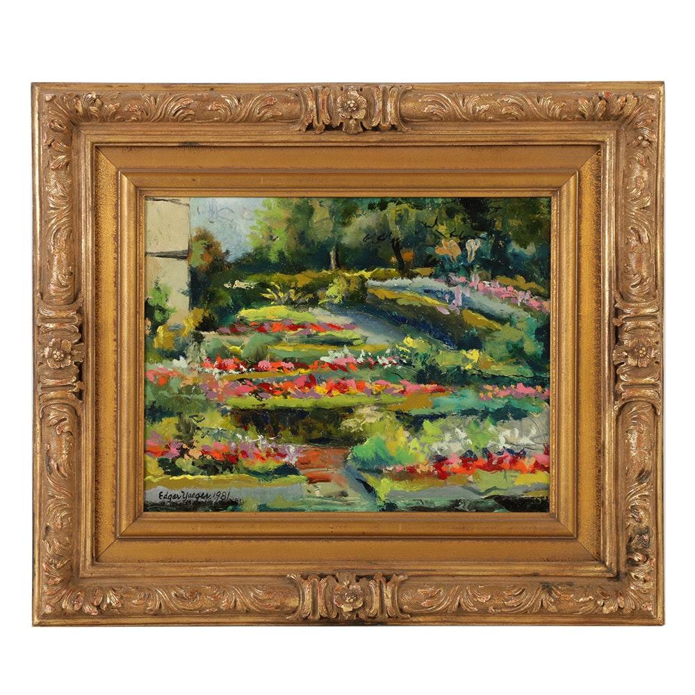 "Edgar Yaeger Oil Painting on Canvas ""Garden Grosse Pte. War Memor"