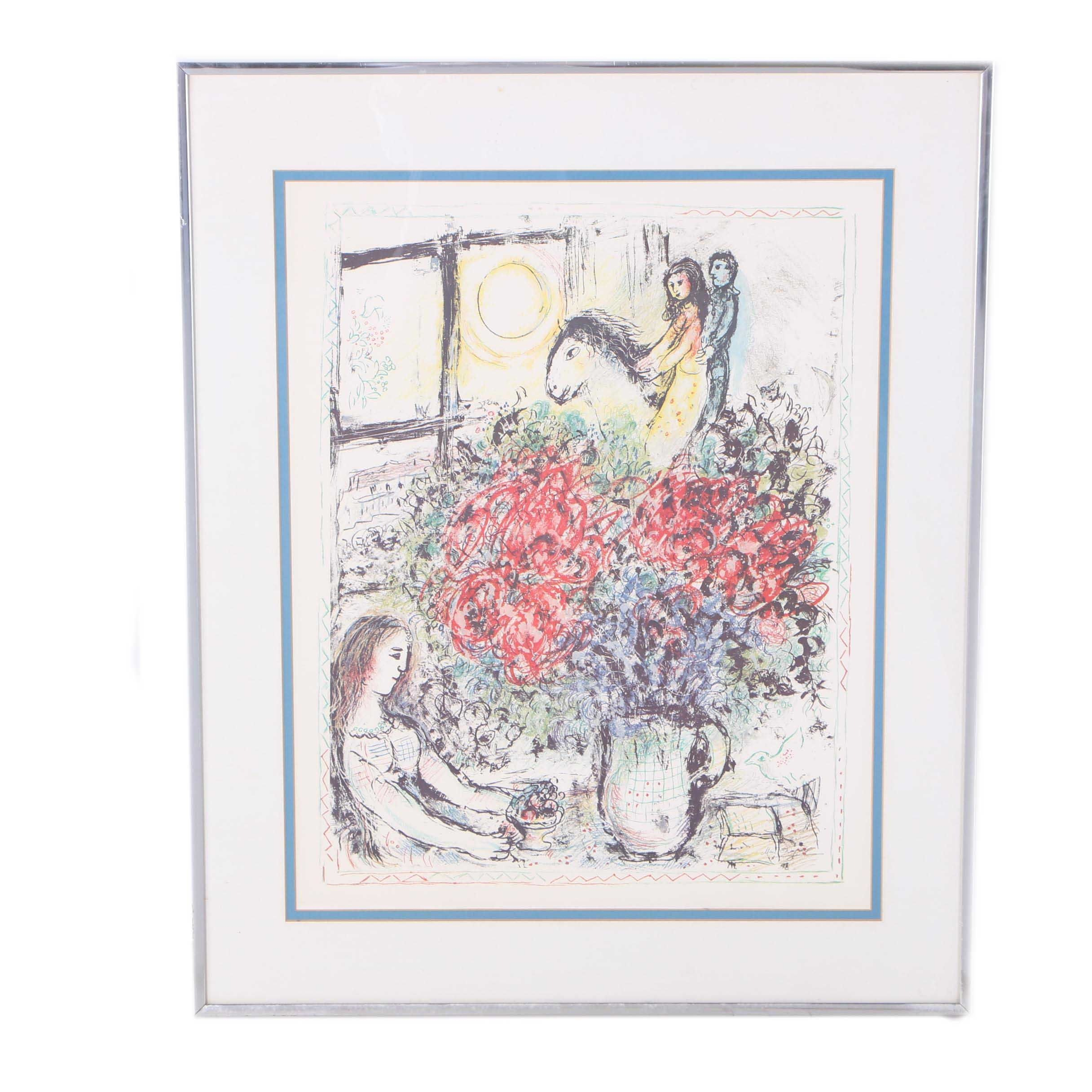 "Offset Lithograph after Marc Chagall ""La Chevauchee"""