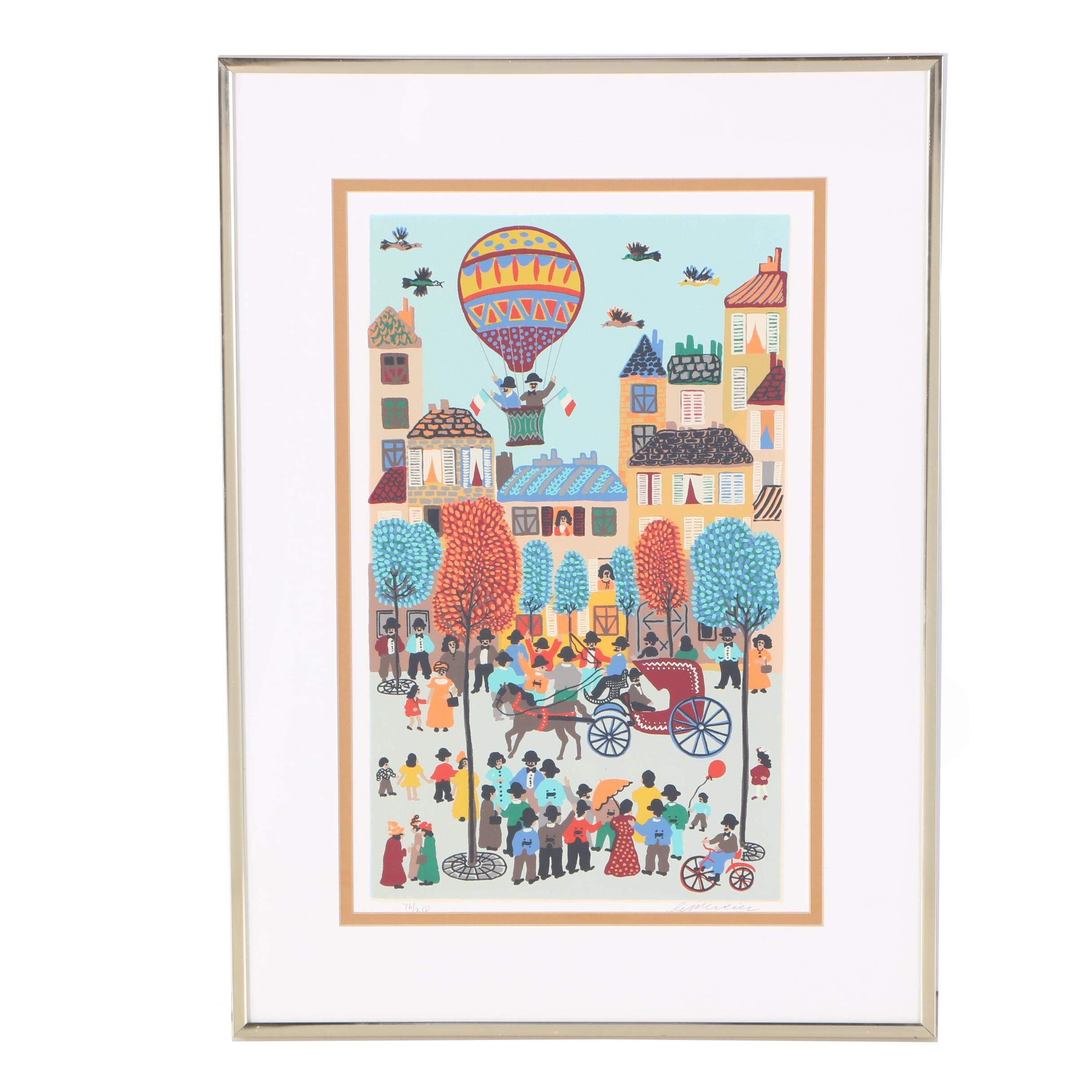 Limited Edition Serigraph of Folk Art Scene