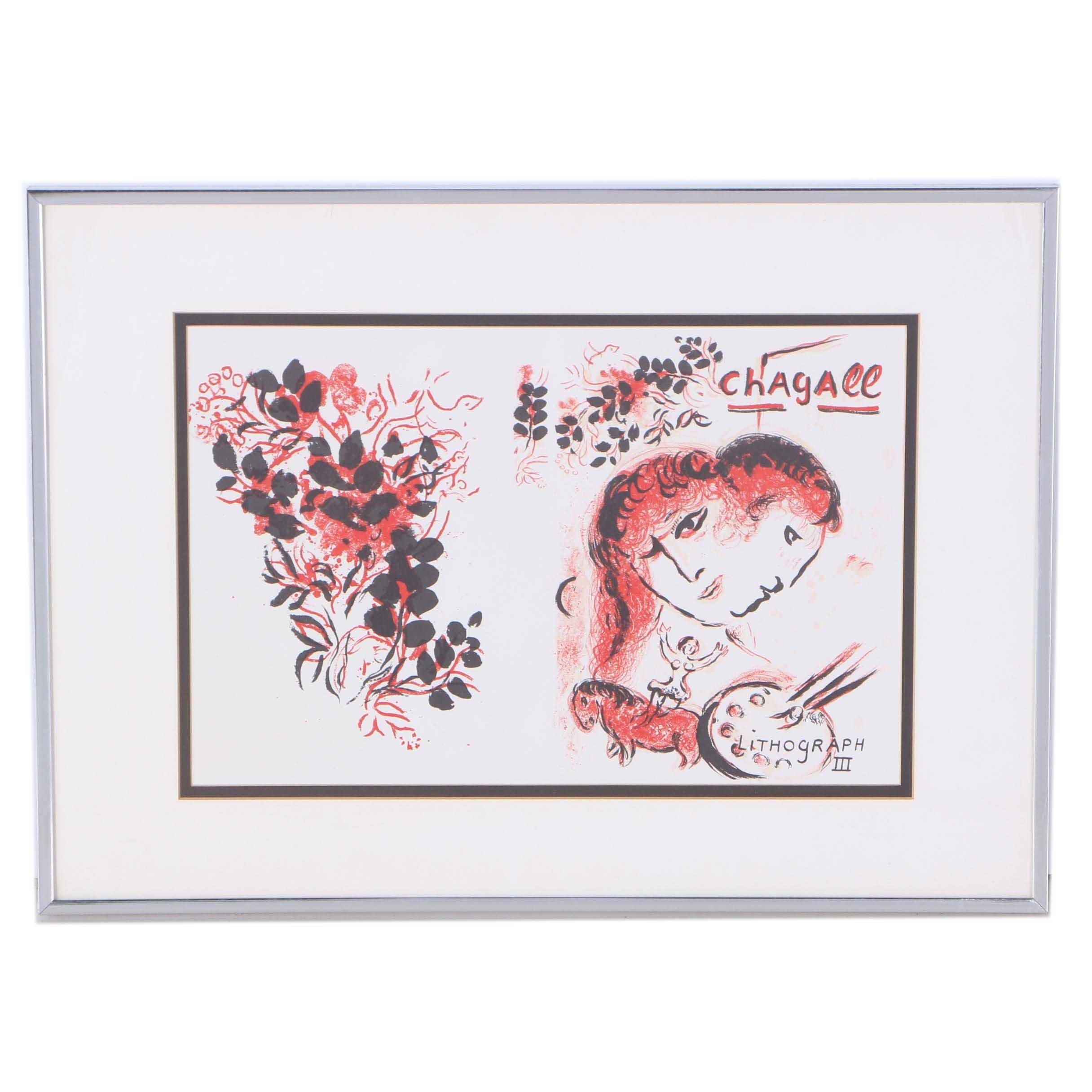 "Marc Chagall Lithograph on Paper ""Lithograph III"""
