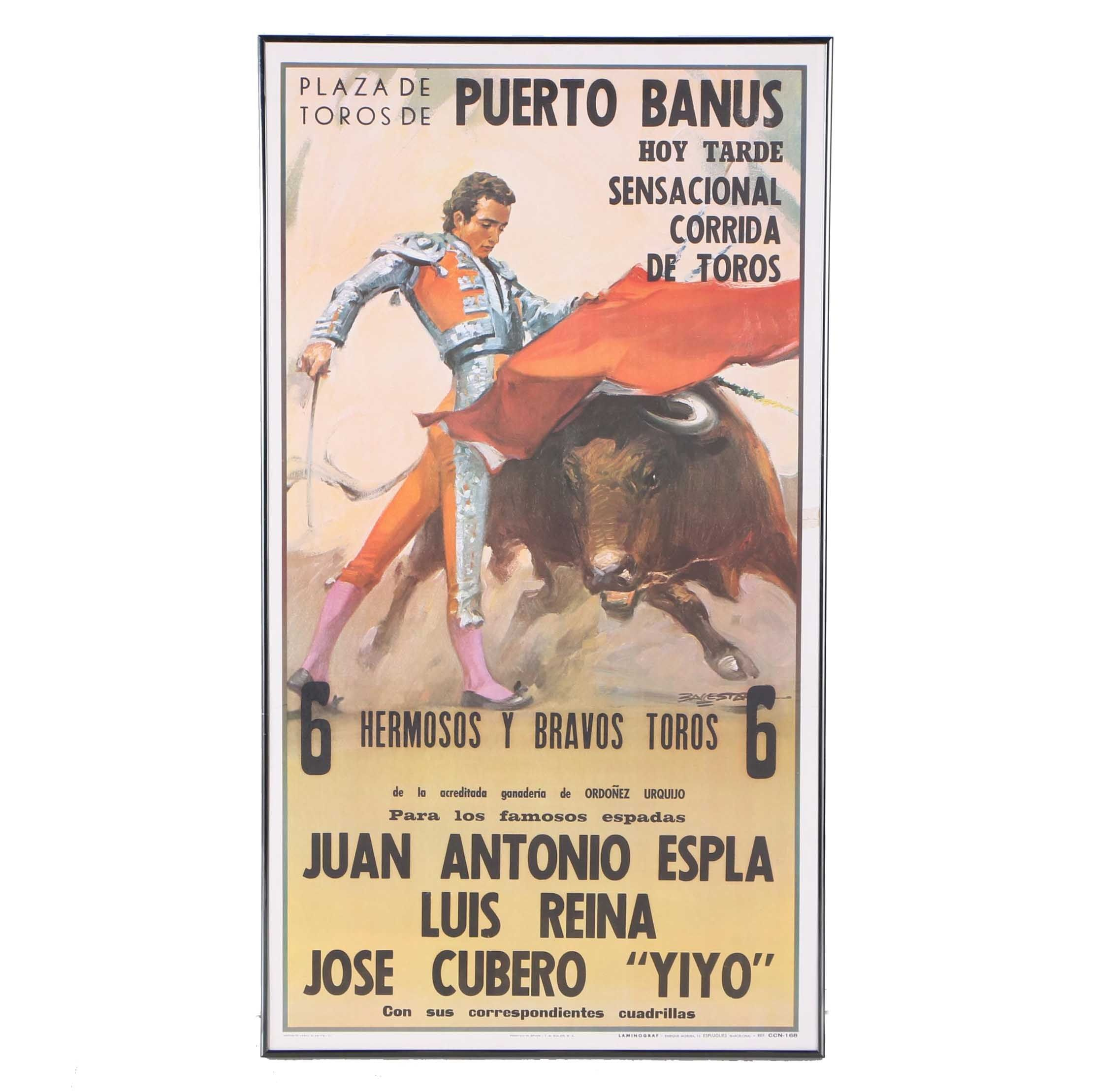 Spanish Vintage Style Reproduction Poster on Paper for a Plaza de Toros de Puerto Banus Bullfight