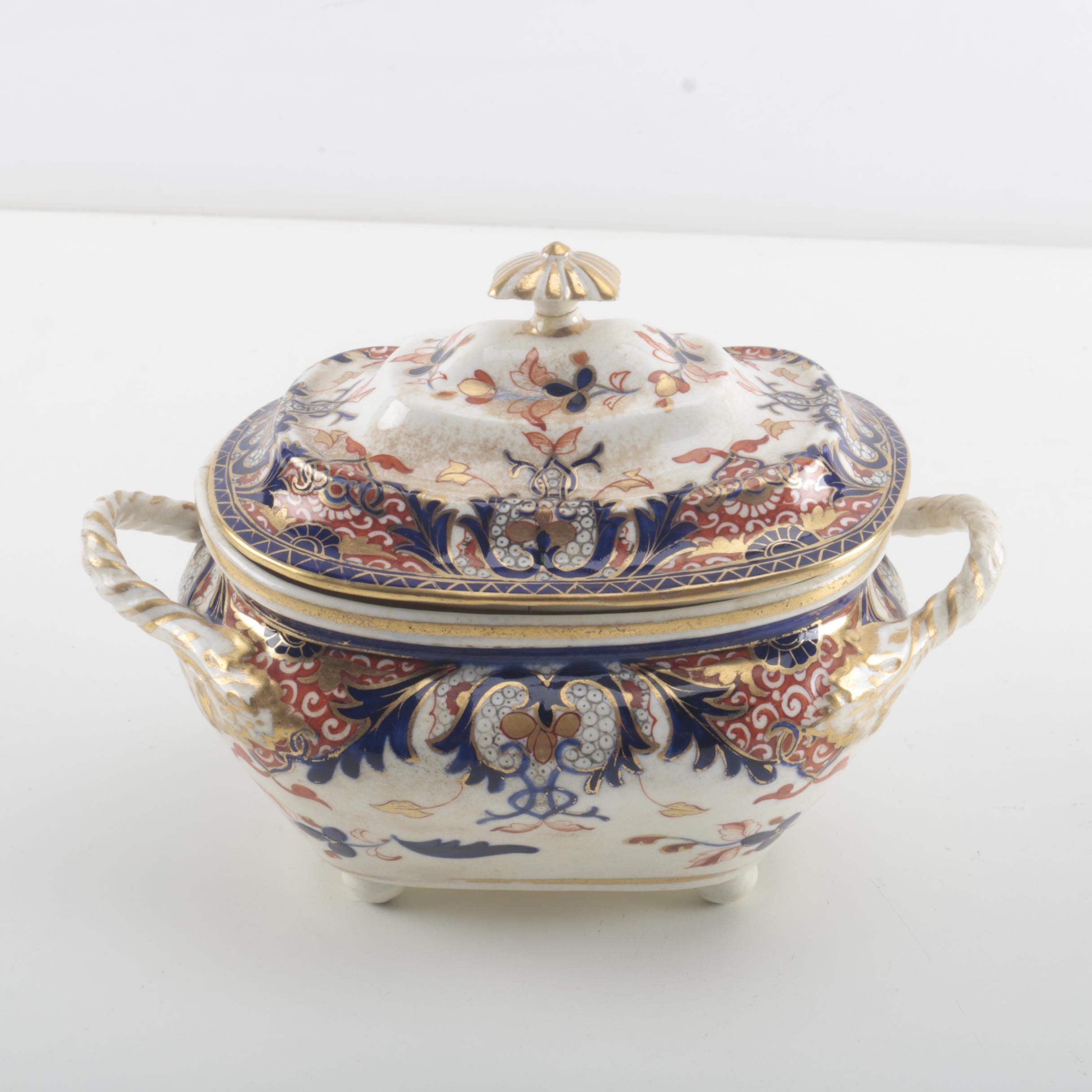Antique Royal Crown Derby Imari Style Lidded Dish