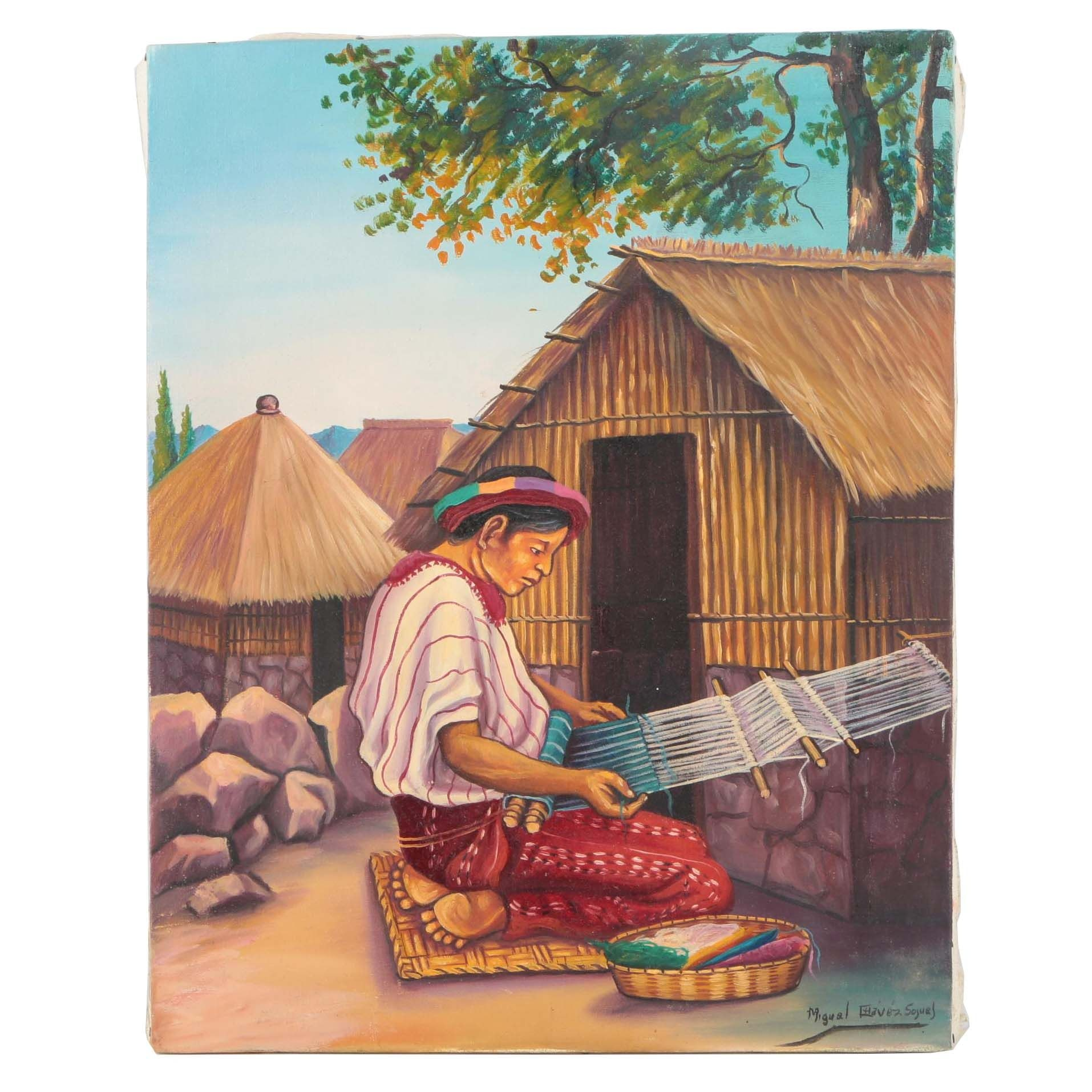 Miguel Chavez Sojuel Oil Painting on Canvas of Central American Style Scene