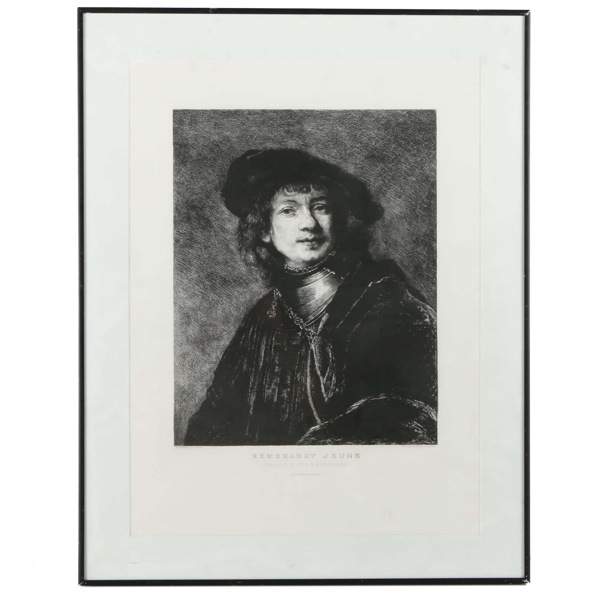 """Reproduction Engraving on Paper After Rembrandt """"Self-Portrait"""""""