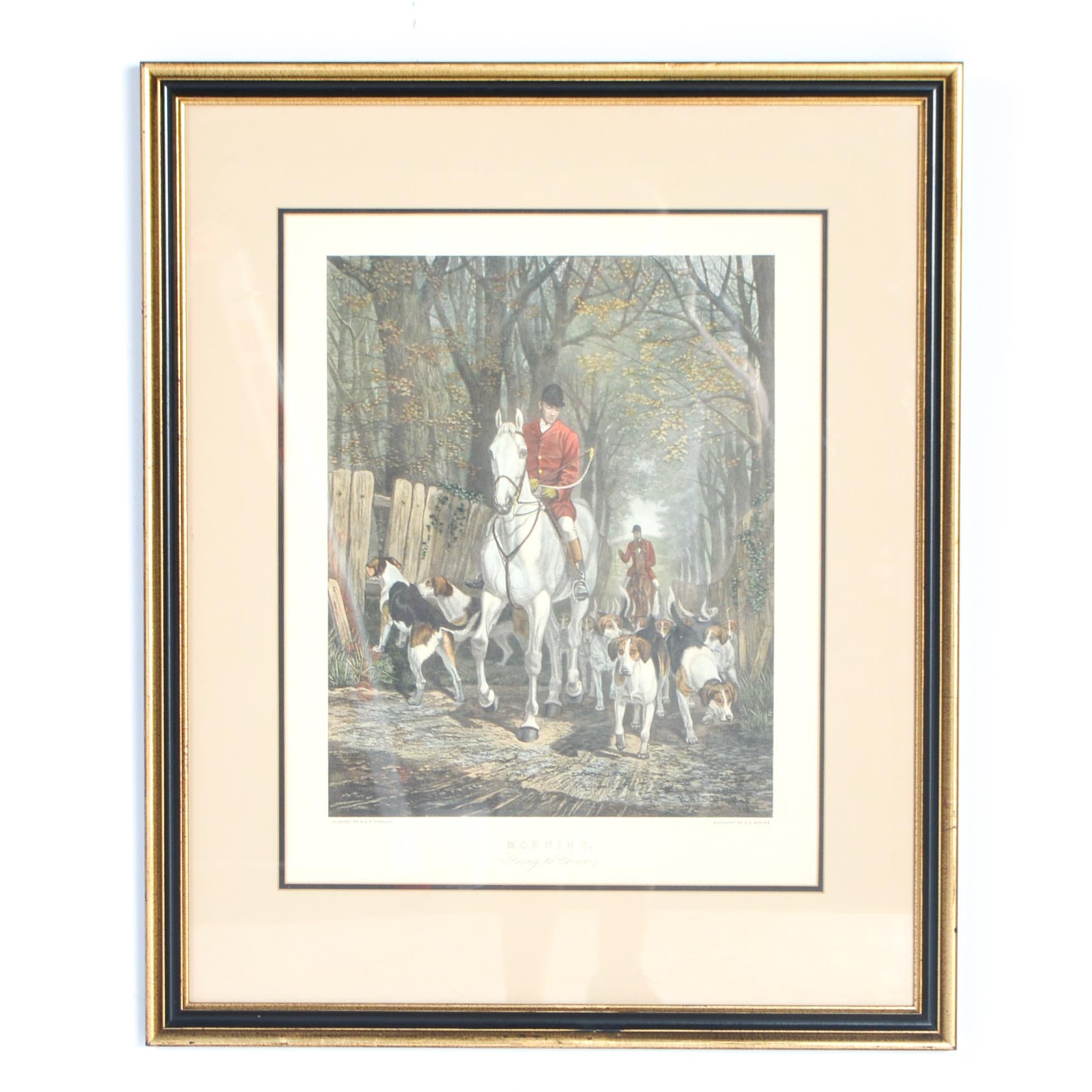 """Framed Mezzotint Engraving after E.A.S. Douglas """"Morning Going to Cover"""""""