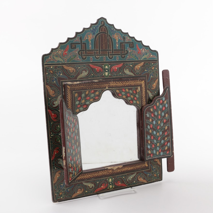 Decorative Painted Wooden Mirror With Front Doors Ebth