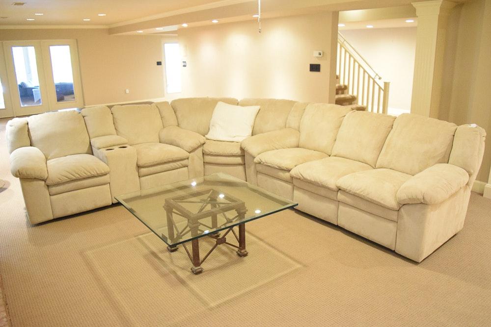 Cream Tone Suede Sectional Sofa