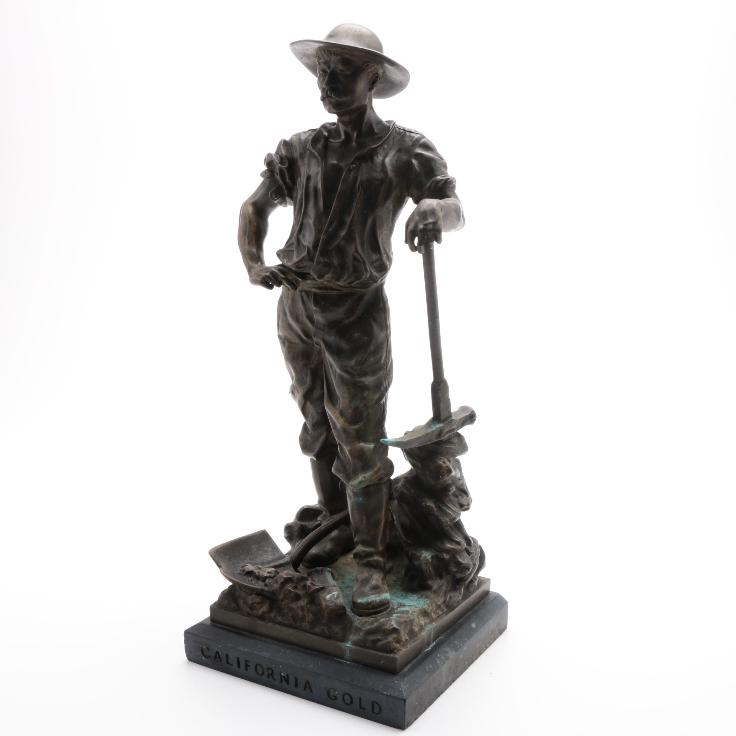 "Late 19th-Century Bronze Sculpture ""California Gold"""