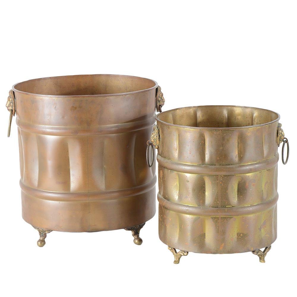 Round Brass Planters