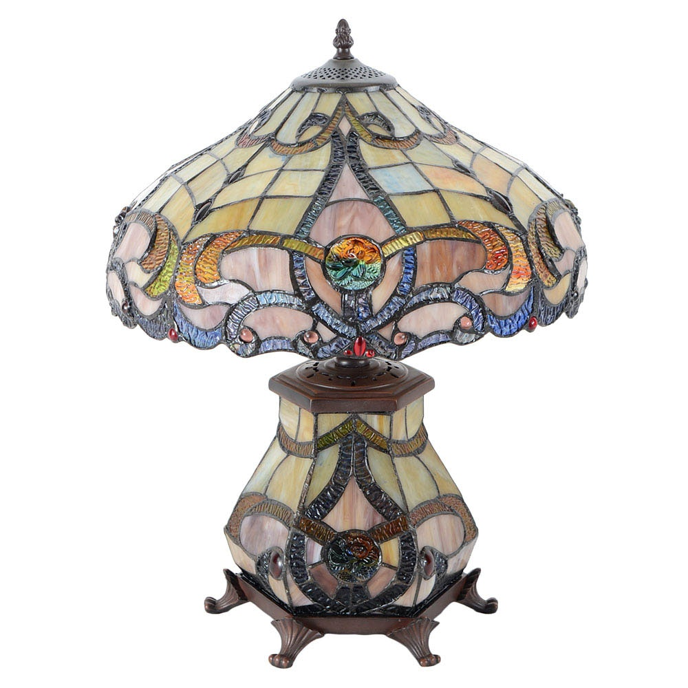 Stained Glass Table Lamp With Illuminated Base Ebth