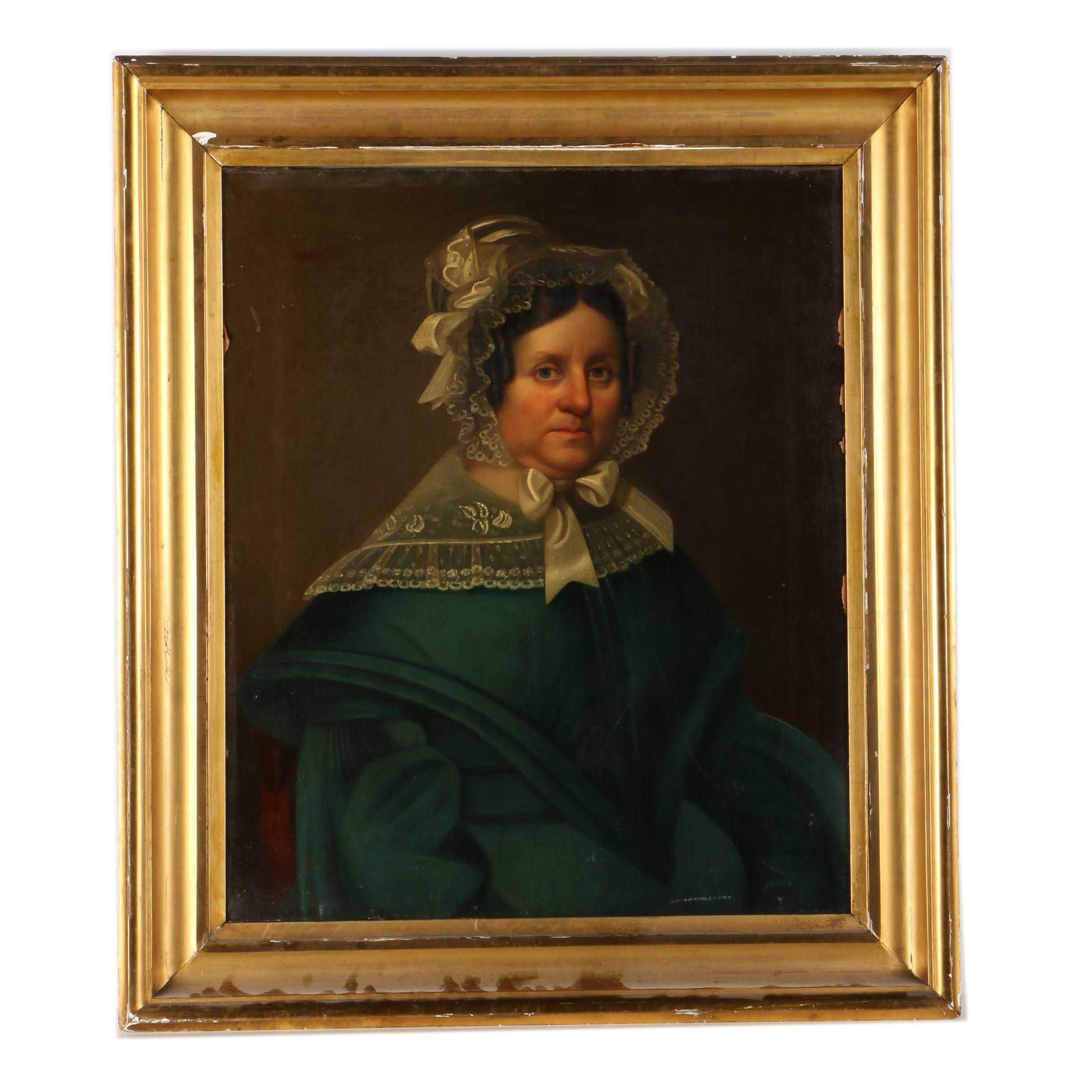 Late 19th Century Oil Portrait on Canvas of Marilla Pratt