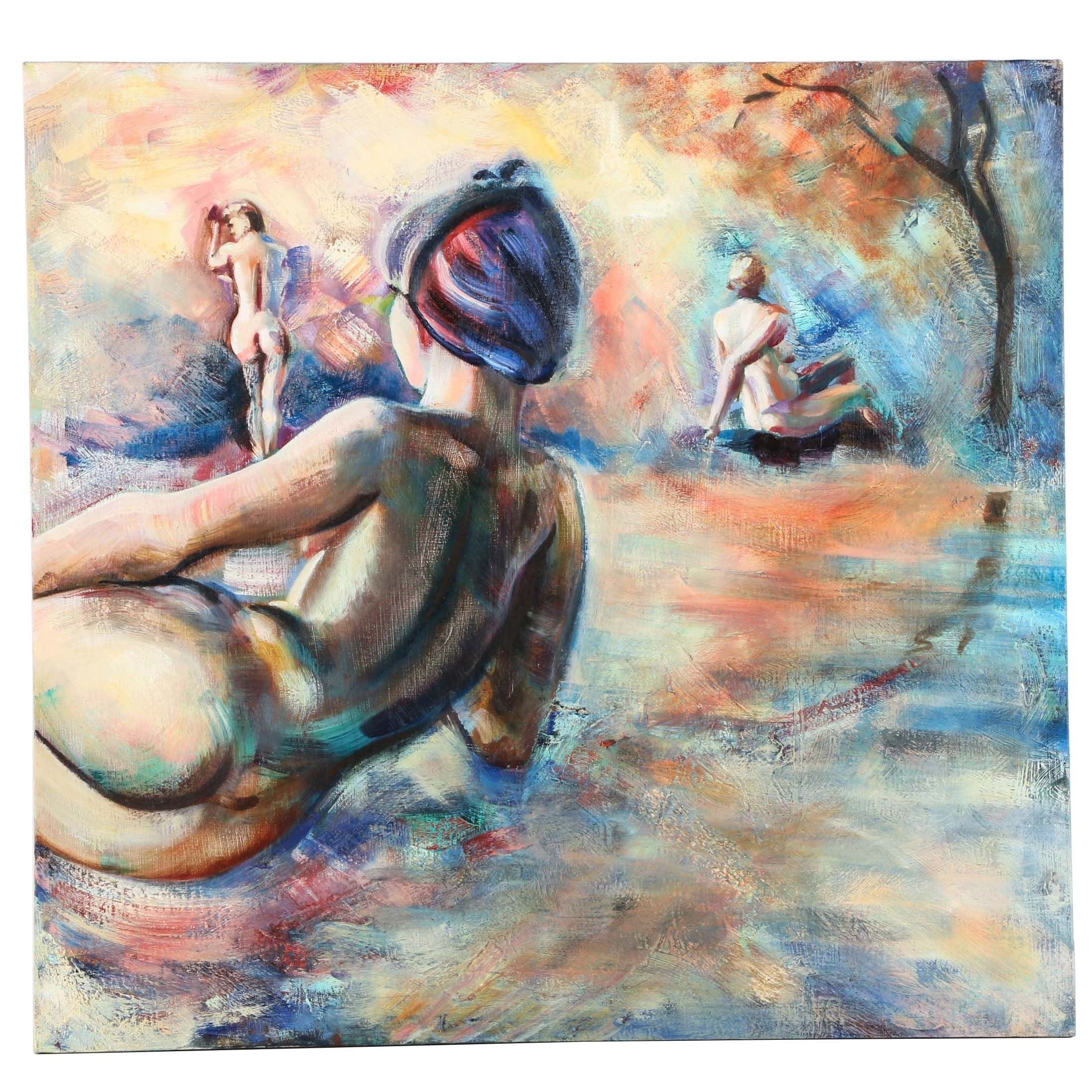 Oil Painting on Canvas of Three Female Nudes