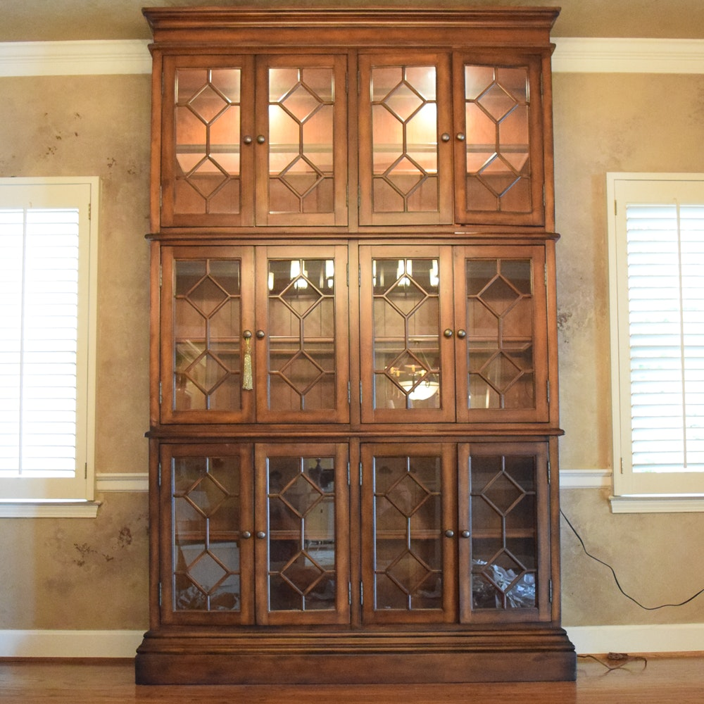 Tall Glass Front Lighted China Cabinet