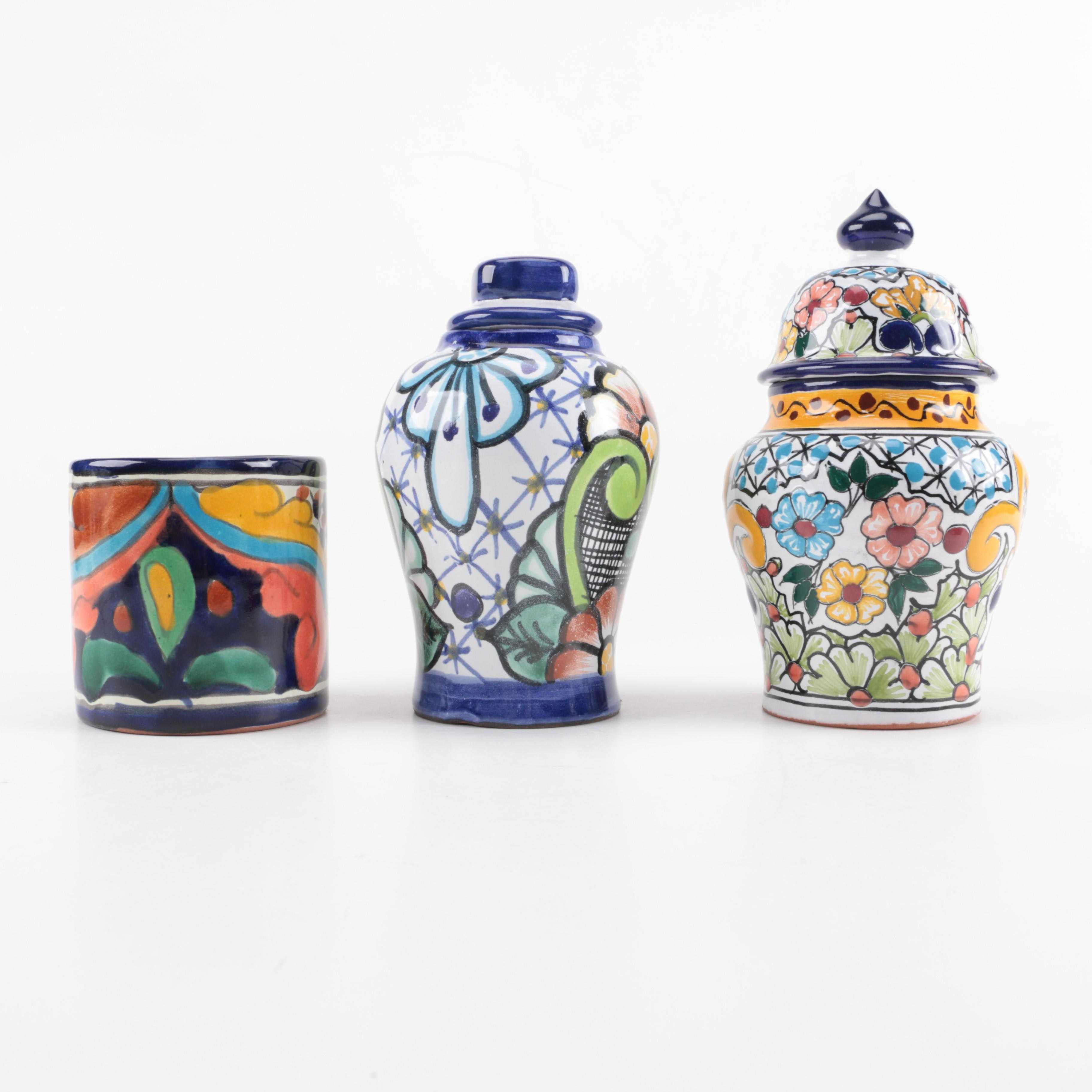 Hand-Painted Mexican Ceramic Jars and Vase