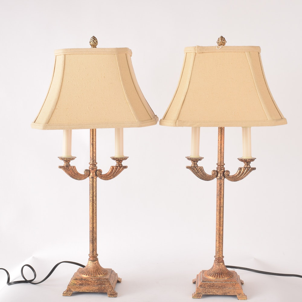 Neoclassical Style Gold Tone Table Lamps