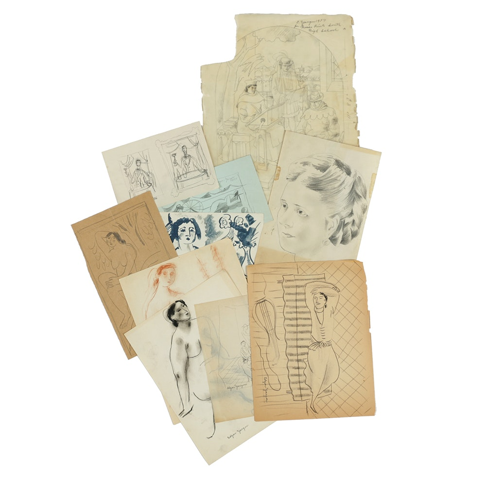 Assortment of Edgar Yaeger Sketches on Paper
