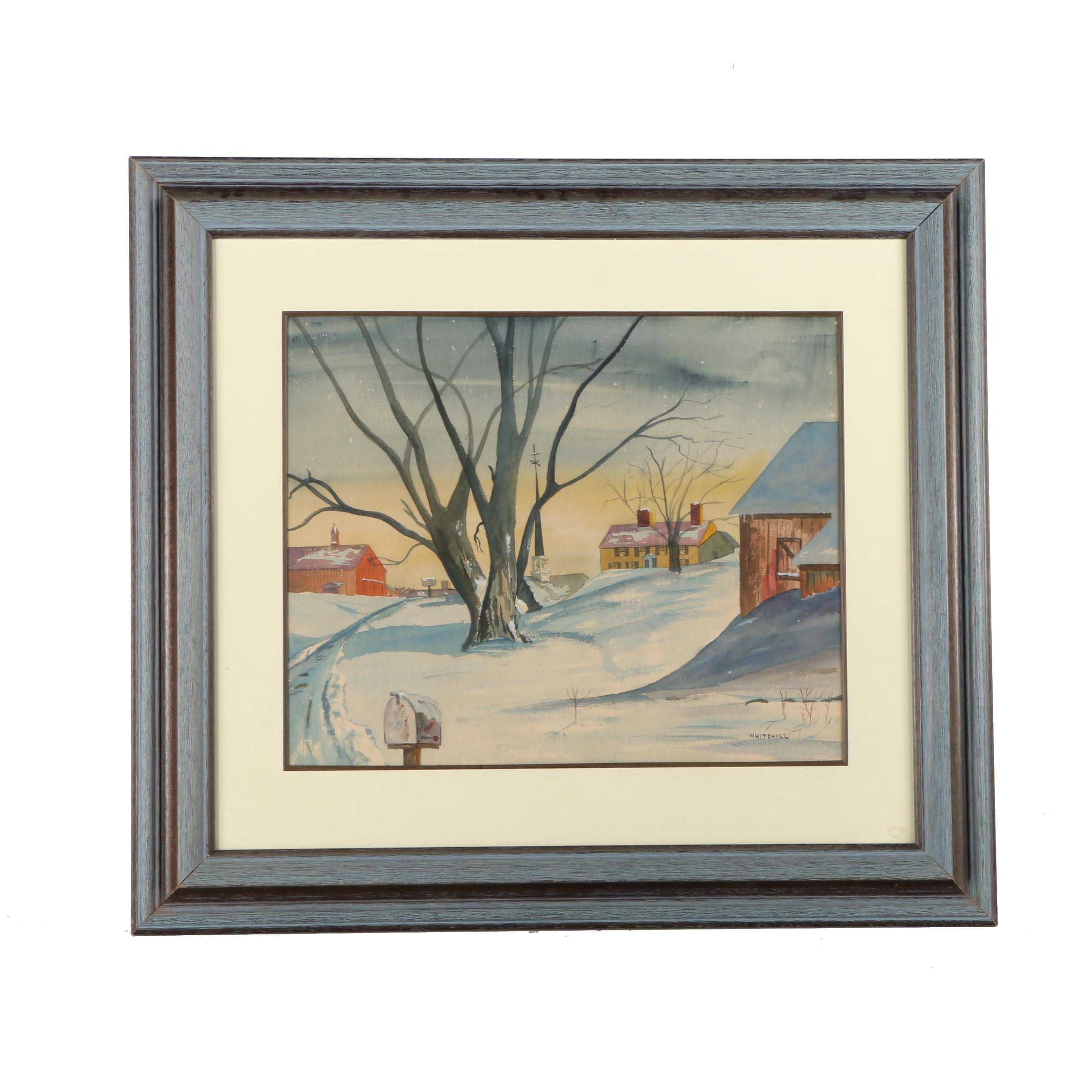 Whitehill Watercolor Painting of a Rural Winterscape