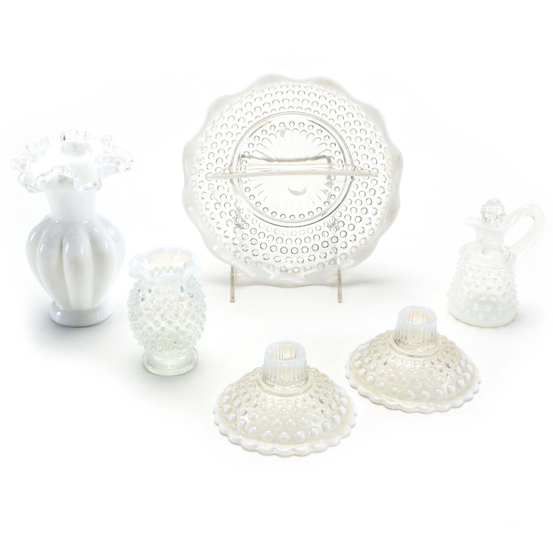 Glassware Featuring Milk Glass Vase