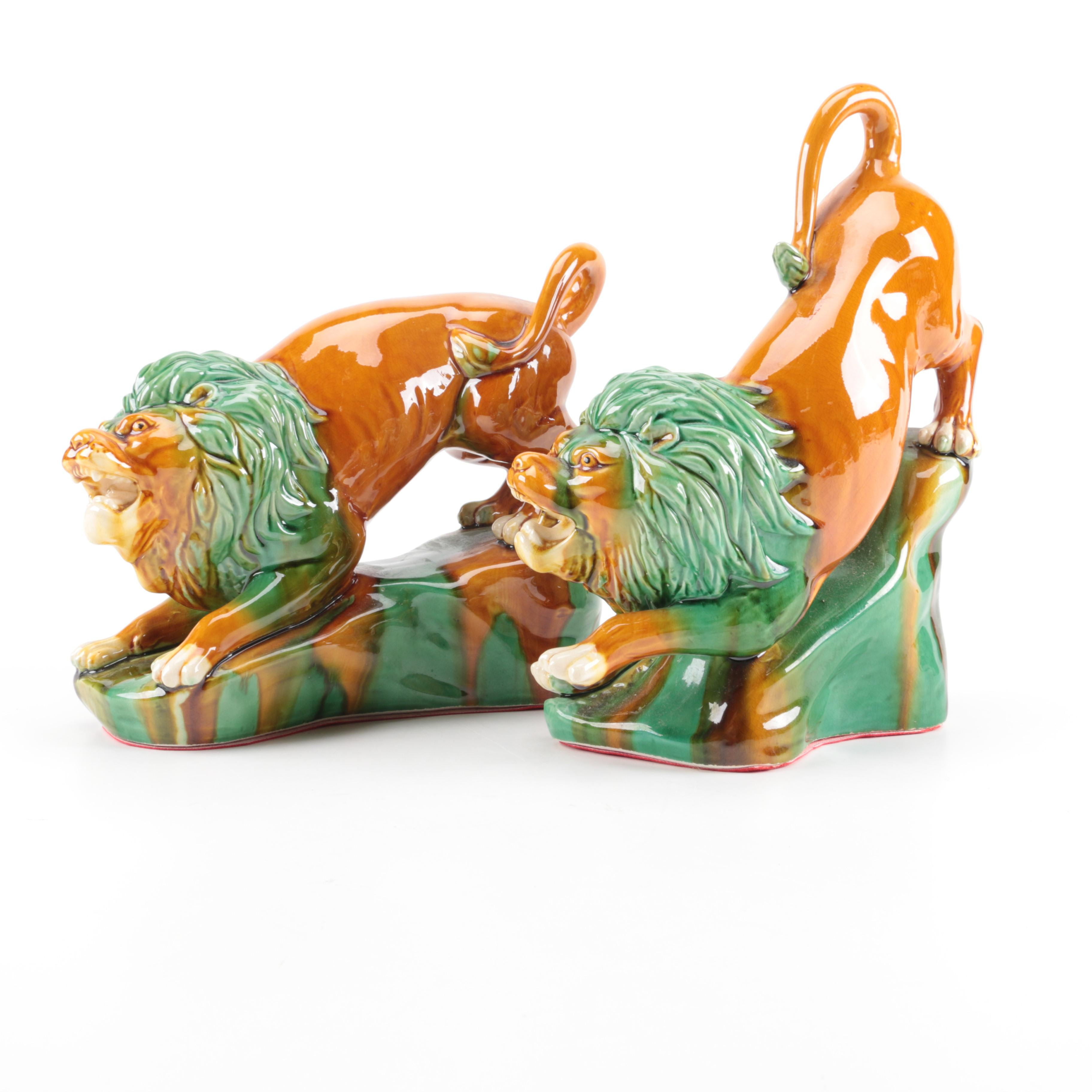 Chinese Ceramic Lion Bookends